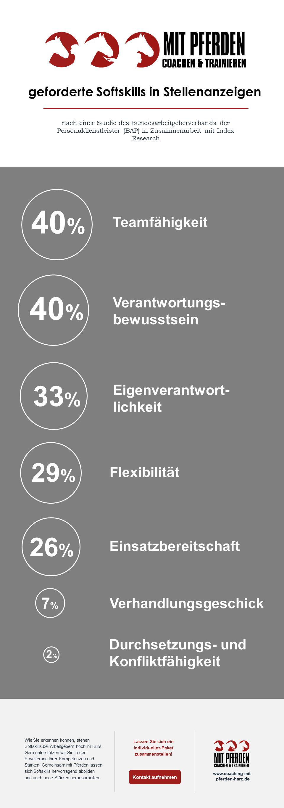Infografik Softskills in Stellenanzeigen - Coaching mit Pferden Harz