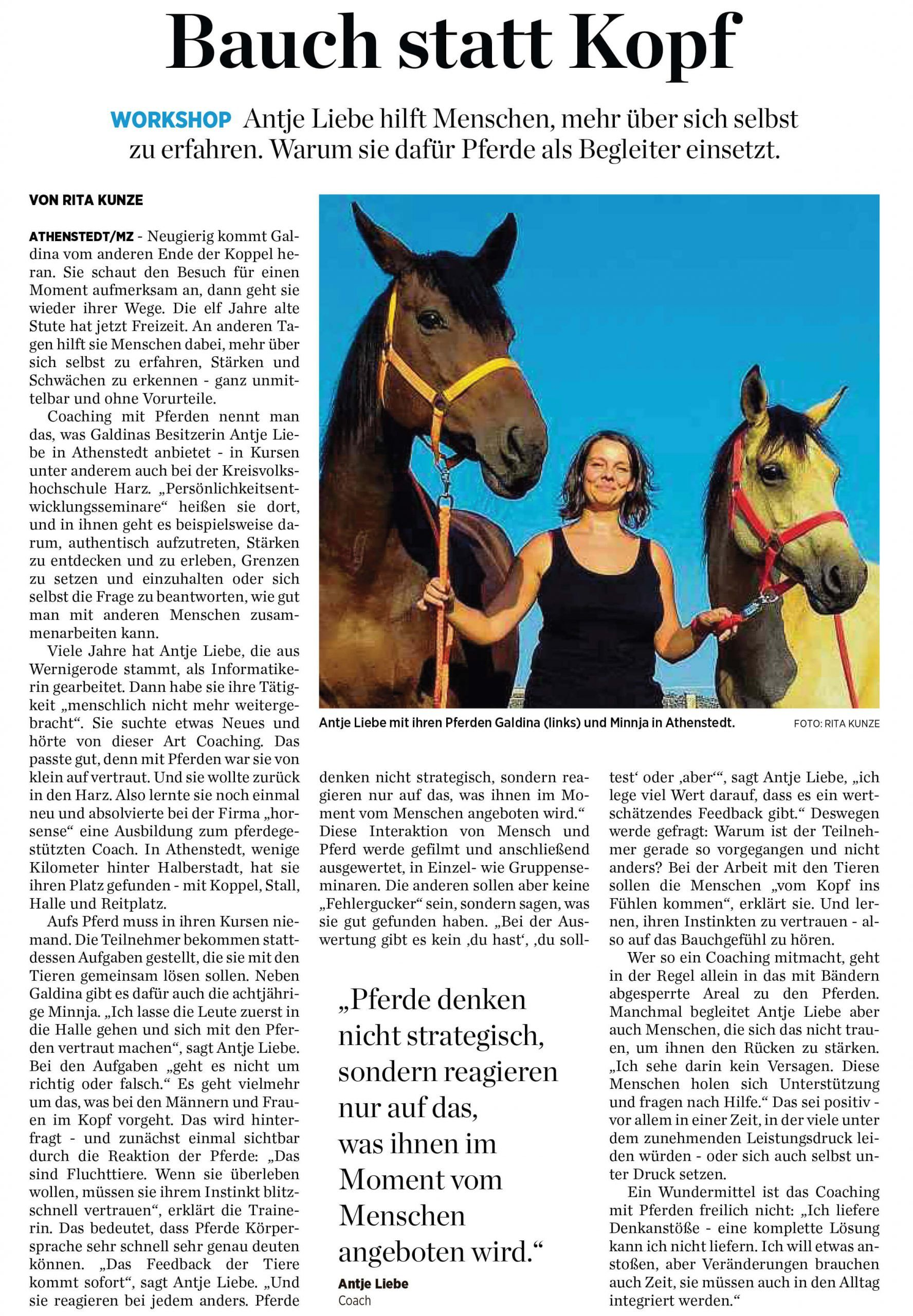 Artikel MZ Quedlinburg 09/2018 | Coaching mit Pferden Harz